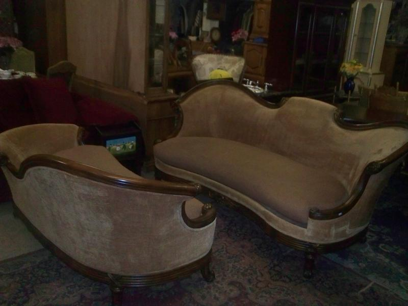 Victorian Syle Fainting Sofa and Matching Couch