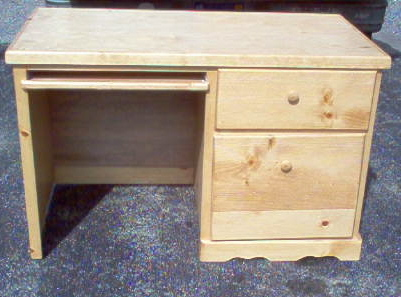 Wood Desk 2 Drawer Stained Natural 42w X 20d 30h