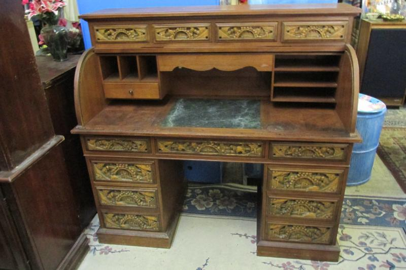 Cheap Vintage Furniture Roll Top Desk Asian Carved