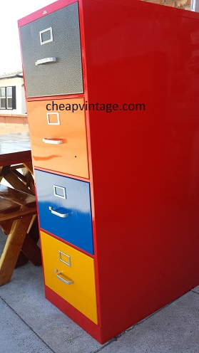 Used File Cabinet Multi Color Powder Coat