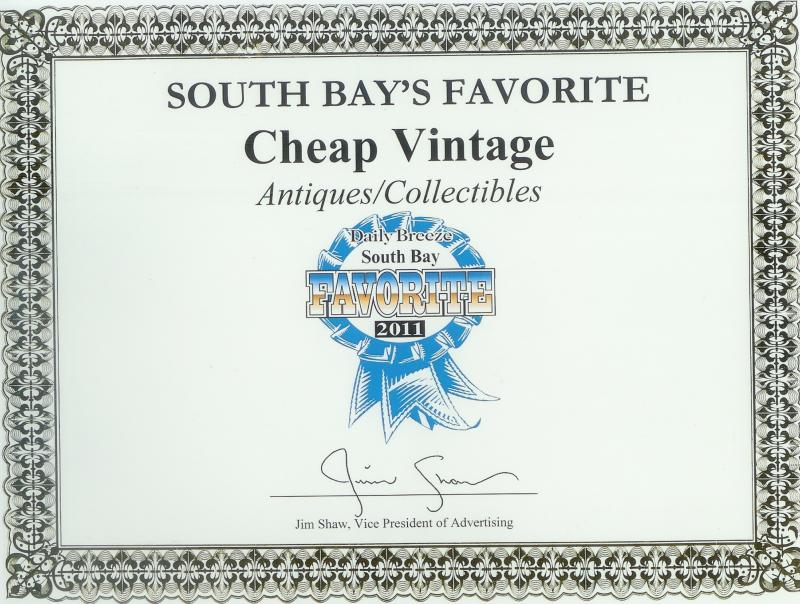 Daily Breeze Awarded Cheap Vintage 2011 South Bays Favorite Antiques/Collectible