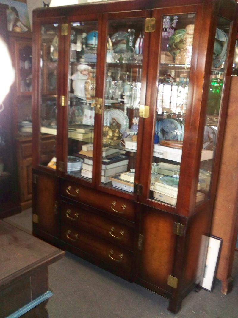 Beautiful Mahogany curio Cabinet Full Of Our Cheap Vintage Collectibles